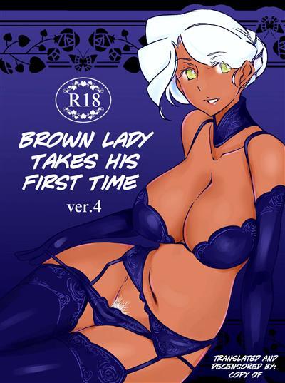 Kasshoku Oneesan no Fudeoroshi Ver. 4 | Brown Lady Takes His First Time Ver. 4 / 褐色お姉さんの筆おろし ver.4 cover